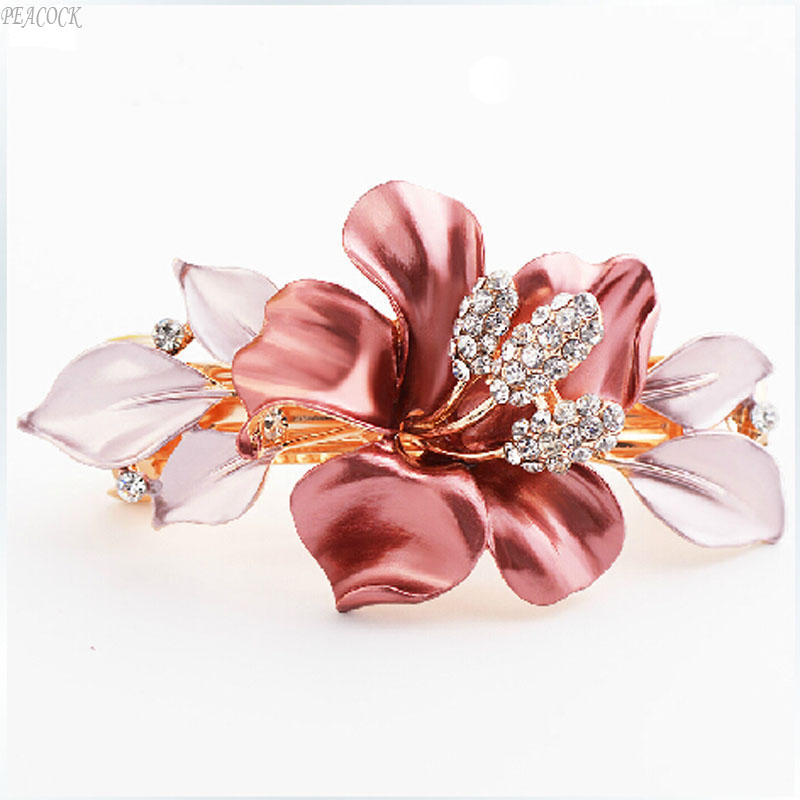 FREE SHIPPING Hair Accessories Gold Plated Oil Drip Spring Hair Pin Ponytail Rhinestone Hair Clip Women Hair Jewelry(China (Mainland))