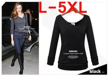 L-5XL Cotton Black Grey V-Neck T-Shirts Hot New Arrivel Slim Autumn Winter Fashion T-Shirts Women T-Shirts For Girls Big Size