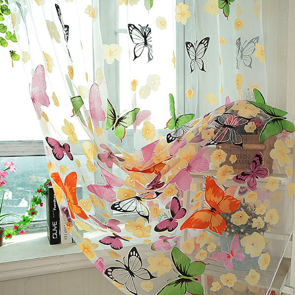 See Through Colorful Butterfly Panel Scarf Tulle Window Screens Door Curtain Voile Curtain(China (Mainland))