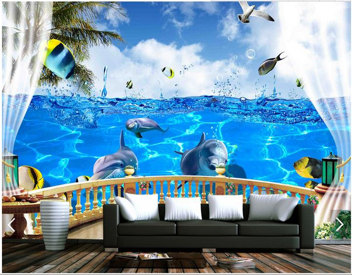 3d photo wallpaper custom 3d wall murals wallpaper 3 d balcony sea ocean dolphin fish murals wall paper 3d living room wallpaper(China (Mainland))