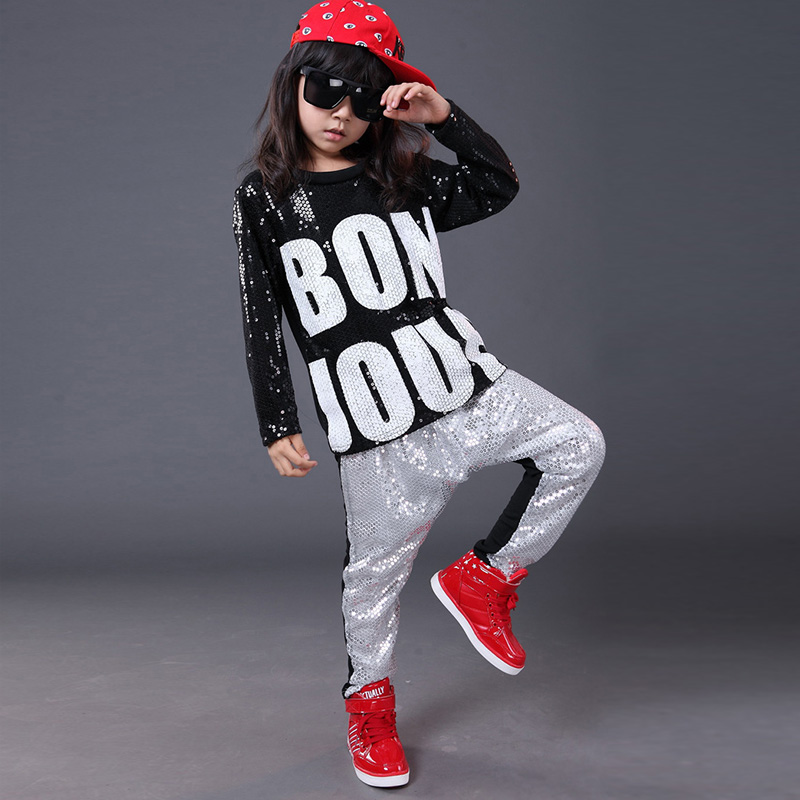 Trendy Hot Kids Hip Hop Clothing Persionality Boys Girls Costumes Sets Letter Printing Sequin ...