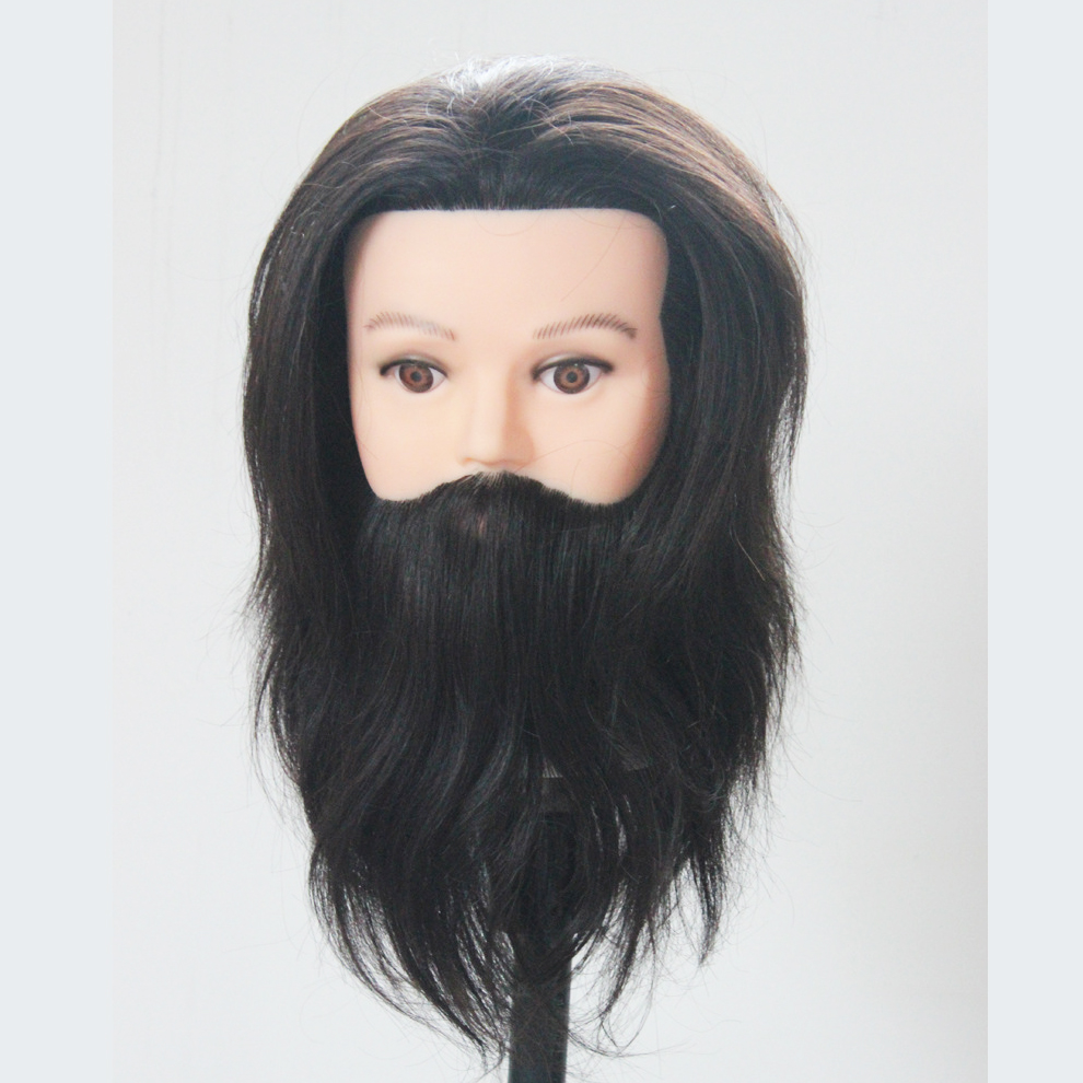2017 Wholesale Hot Sale Promotions 8 inch Hairdressing Training Head Male Mannequin Head With beard 100 Human Hair(China (Mainland))