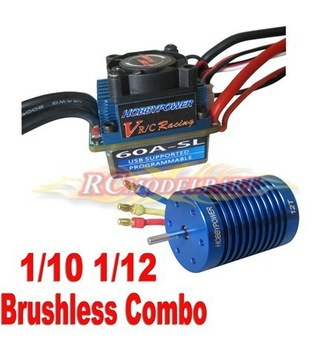 Racing 60A ESC Brushless Speed Controller 12T 3330KV Motor F 1/10 1/12 Car Truck(China (Mainland))
