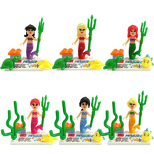 JLB The Little Mermaid Minifigures 6pcs/lot Figures Building Block Model Bricks Toys For Children toys gift