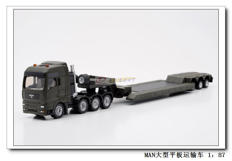 Siku 1847 man heavy Flatbed transport truck Alloy metal model car toy gift 1:87 Dark green(China (Mainland))