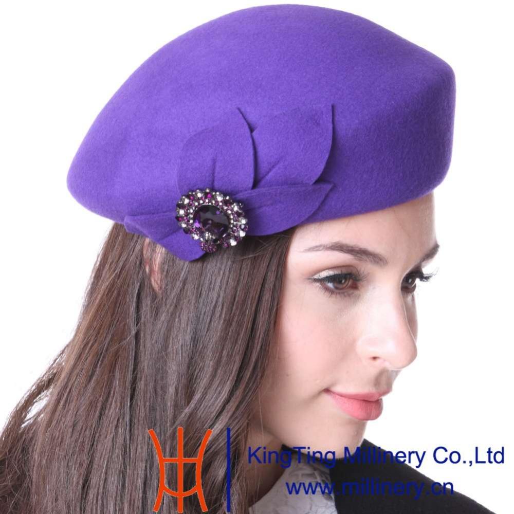 Free Shipping June's Young Winter Hats Women Berets Wool Felt Hats Romantic Purple Color Elegant Lady Party Dress Fedoras Hats(China (Mainland))