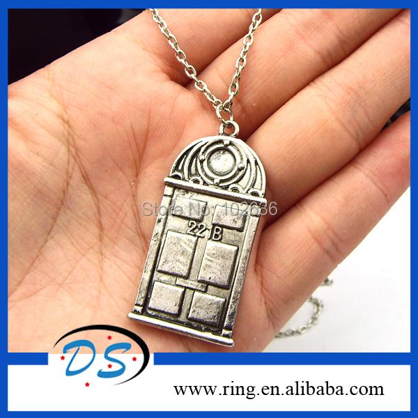 Free Shipping 12pcs/lot Movie Jewelry Door Sherlock 221B Necklace Pendant Chain Necklace(China (Mainland))