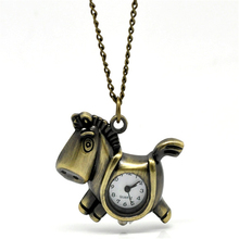 2015 NEW Bronze Tone Necklace Quartz Horse Pocket Watch HOT sale New Arrival free shipping(China (Mainland))