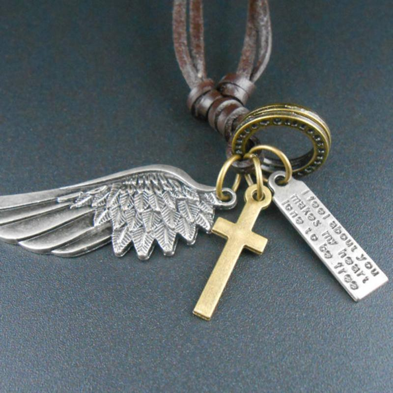 Antique Vintage Angel Wing Men Leather Necklace Male Charms Pendants Necklace Friendship Jewelery Accessories(China (Mainland))