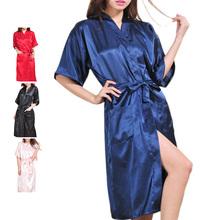 Top Selling Women Sleepwear Bathrobe Sexy Amazing Summer Nightdress 4 Colors Nightgown Imitation Silk Ladies Bath Robes(China (Mainland))