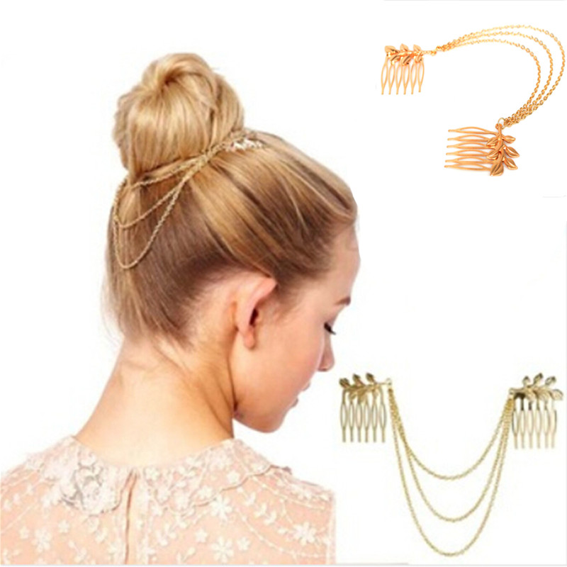 New Women Hot Sale Personality Gold Plated Tone Leaf Hair Cuff Taseel Chain Comb Headband Accessories(China (Mainland))