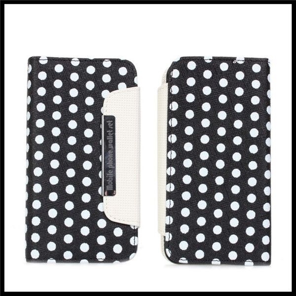 Detachable Polka Dots Wallet Leather Case Cover For iPhone 5 5G Cell Phones 2 in 1 with Photo Window + Free Shipping(China (Mainland))
