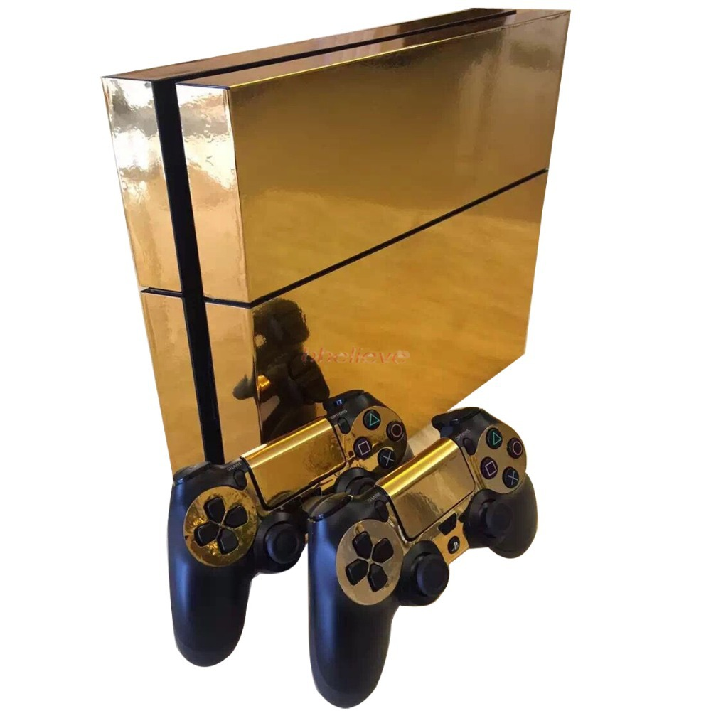 Gold Glossy Decal Skin Sticker for Playstation 4 PS4 Console+Controllers(China (Mainland))