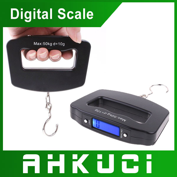 New design LCD50kg free shipping / 10 g digital electronic hook scale small portable scale mini travel baggage(China (Mainland))