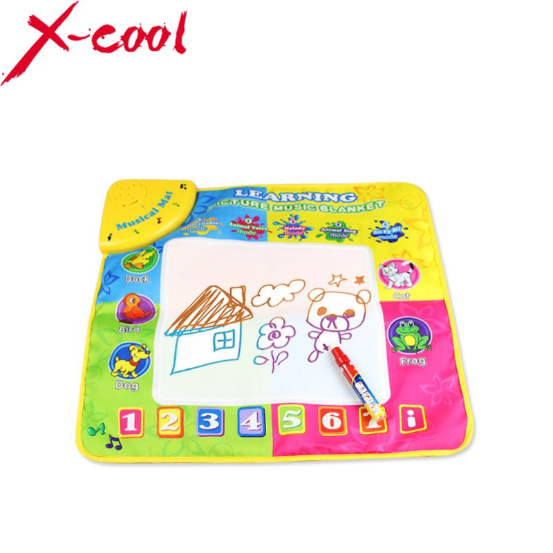 Free shipping xc8824 49.5X49cm Music Water Drawing Mat &1 Magic Pen/ Doodle Mat /Sing'n Doodle/ Aquadoodle Doodle Mat(China (Mainland))