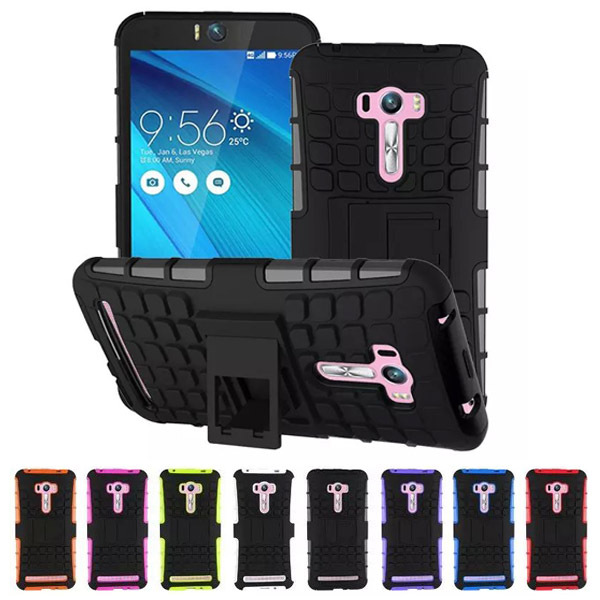 ZD551KL Shockproof Heavy Duty Armor Case For Asus Zenfone Selfie Hybrid Back Cover Kickstand Silicone Phone Case(China (Mainland))