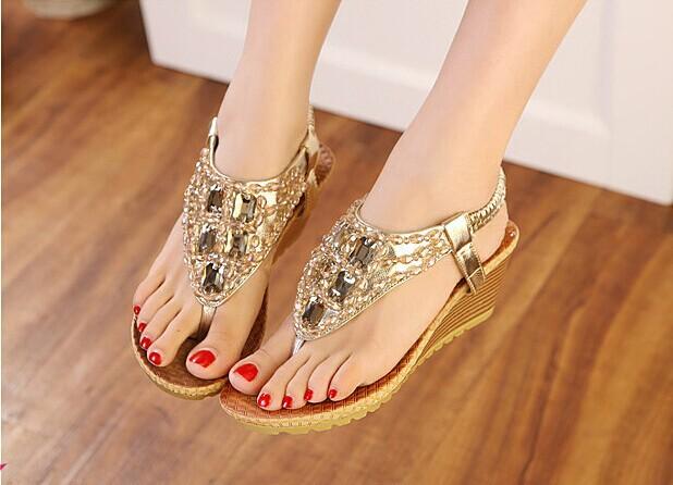New Women Sandals Summer Shoes 2015 SandaliasWomen Flip flops Sapatilhas Femininos Women Summer Wedge Heel Plus size(China (Mainland))