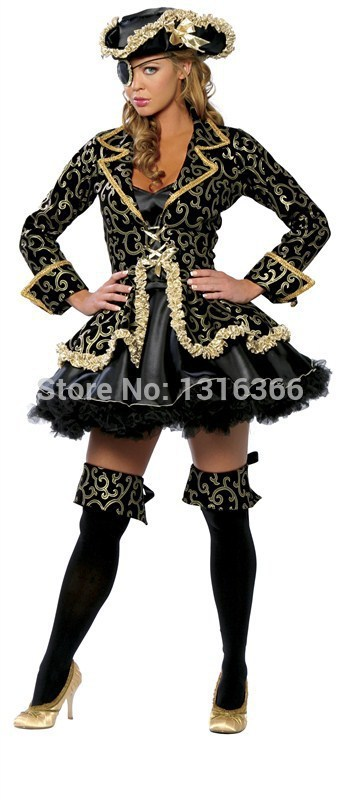 2015 Classic Pirate Costumes Halloween Party Role Play Uniform Bar Costume Dance Costumes THS88(China (Mainland))