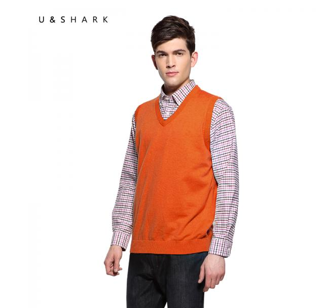 2016 Mens' New Brand U-SHARK Pullover Sweater Vest V-Neck Cotton Knitted Business Fashion Slim Solid Male cashmere vest(China (Mainland))