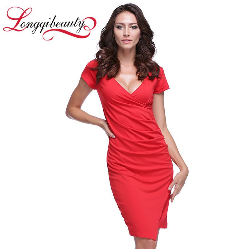 2016 Sexy Dresss Women Summer V-neck Slim Lady Wrap Red/Black Dresses Short Sleeve Sheath Package Hip Women Dresses vestidos(China (Mainland))