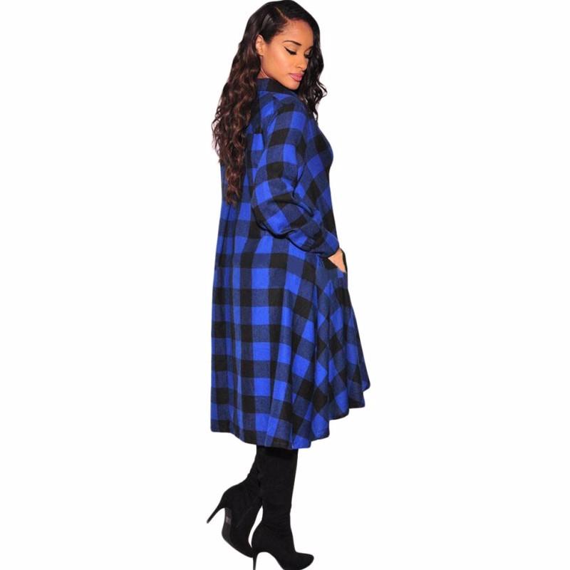สั้นชุดลำลองสำหรับผู้หญิง2016ร้อนแฟชั่นสีดำสีขาวลายสก๊อตผ้าหลวมสูงต่ำยาวแขนเสื้อชุดรูปแบบS61339 ถูก
