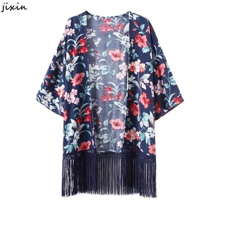 Fashion Women Long Floral Kimono Cardigan Tassel Cotton