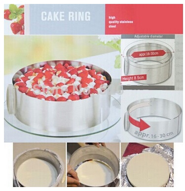 50pcs/lot 6 to 12 inch 400G Mousse Ring Cake Stainless Steel Circle Adjustable Cake Mould Mold(China (Mainland))