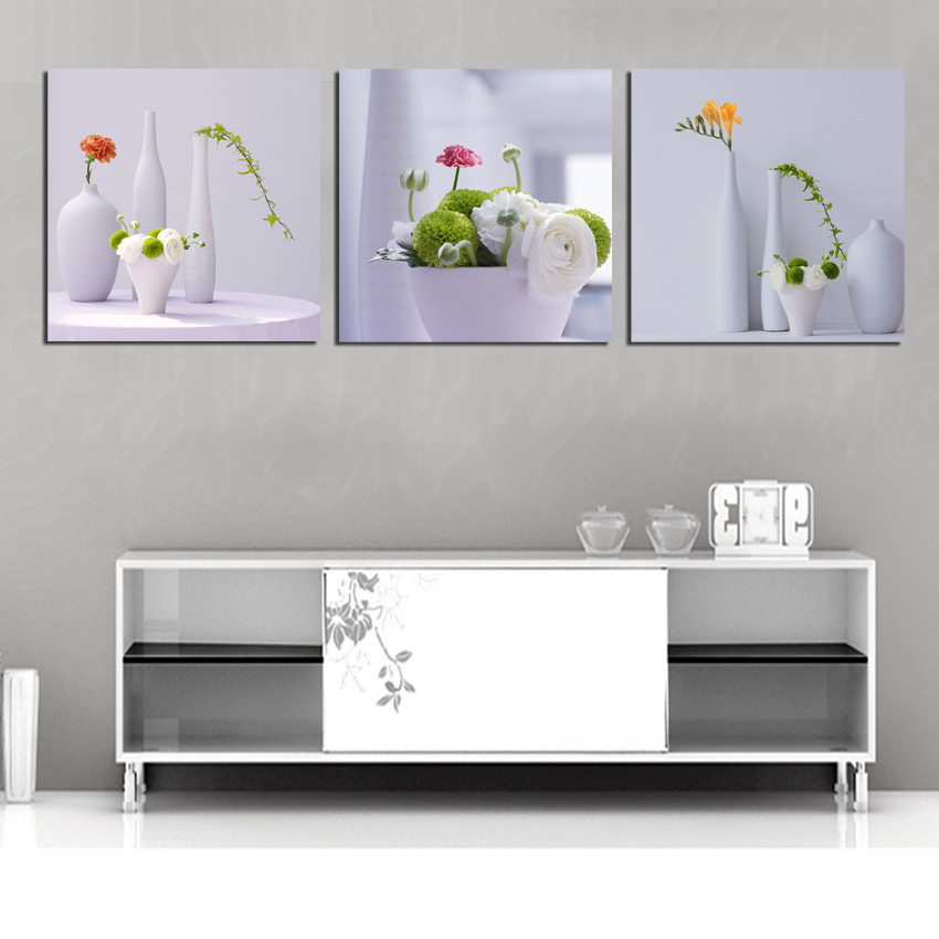 3 Piece Decorative Wall Pictures White Flower Ceramic Vase