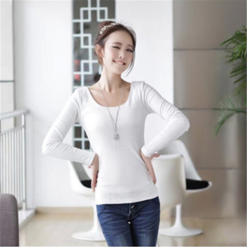 2015 long sleeve o neck t shirt women cotton blend tight for Tight collar t shirts