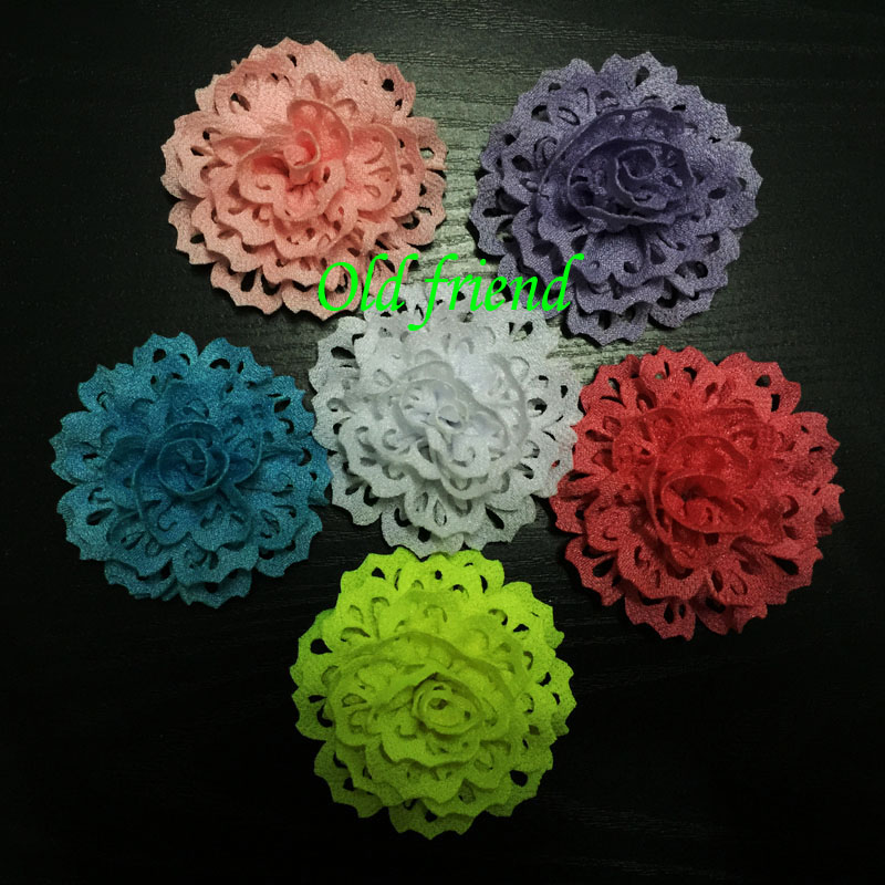 30pcs/lot Fashion Thick Fabric Eyelet Flowers For Kid's Headbands Dress Clothing, Baby Hair Accesorries(China (Mainland))