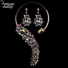 Dvacaman מותג 2018 חדש שמפניה קריסטל נשים חתונה כלה ריינסטון הצהרת שרשרת & Drop עגילי TT60(China)