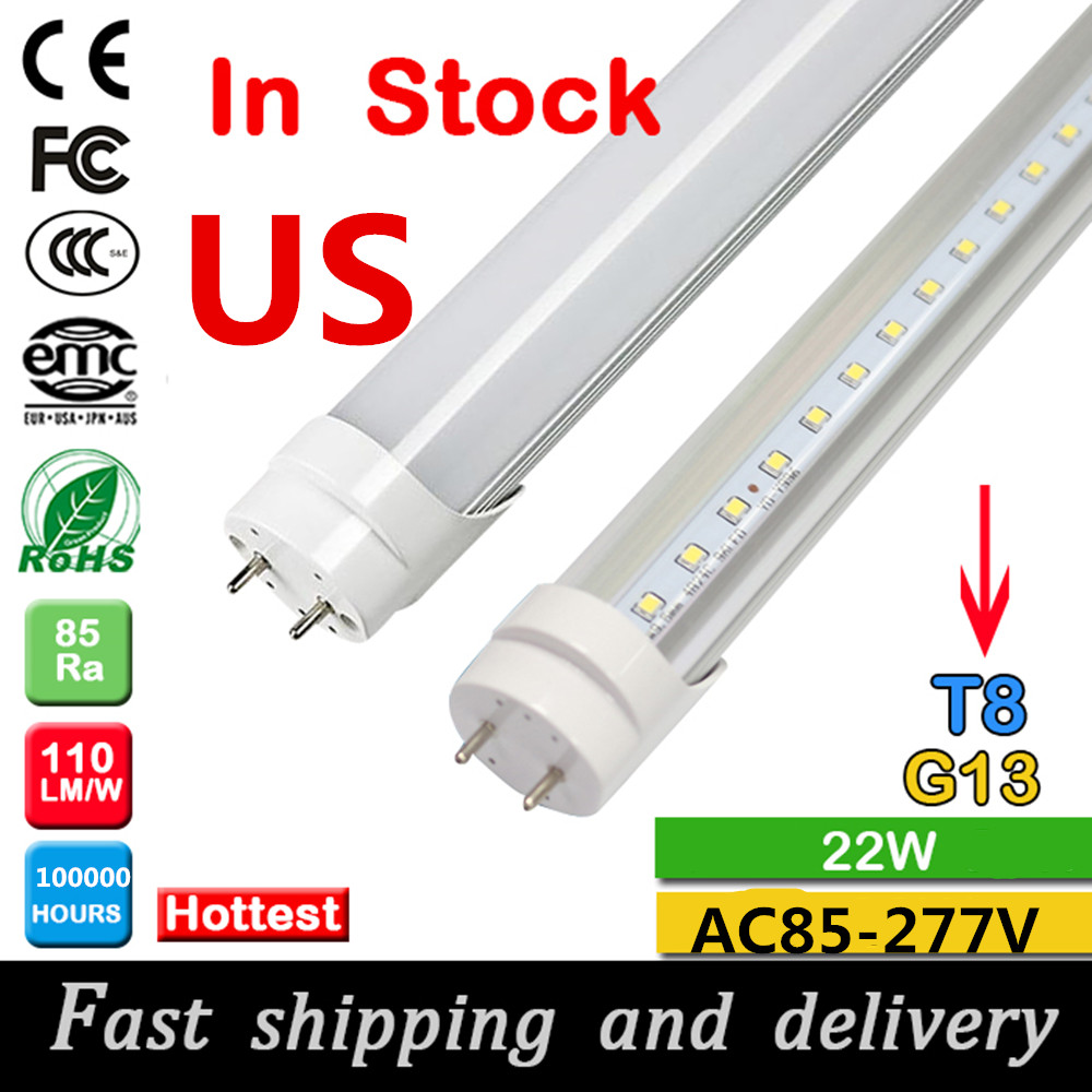 led tube t8 1200mm 4ft 22W led tube light AC85-277V led fluorescent tube lamp in US warehouse No TAX fast shipping and delivery(China (Mainland))