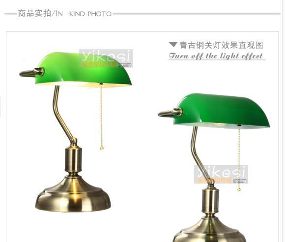 buy free shipping american style antique vintage table lamp green glass cover. Black Bedroom Furniture Sets. Home Design Ideas