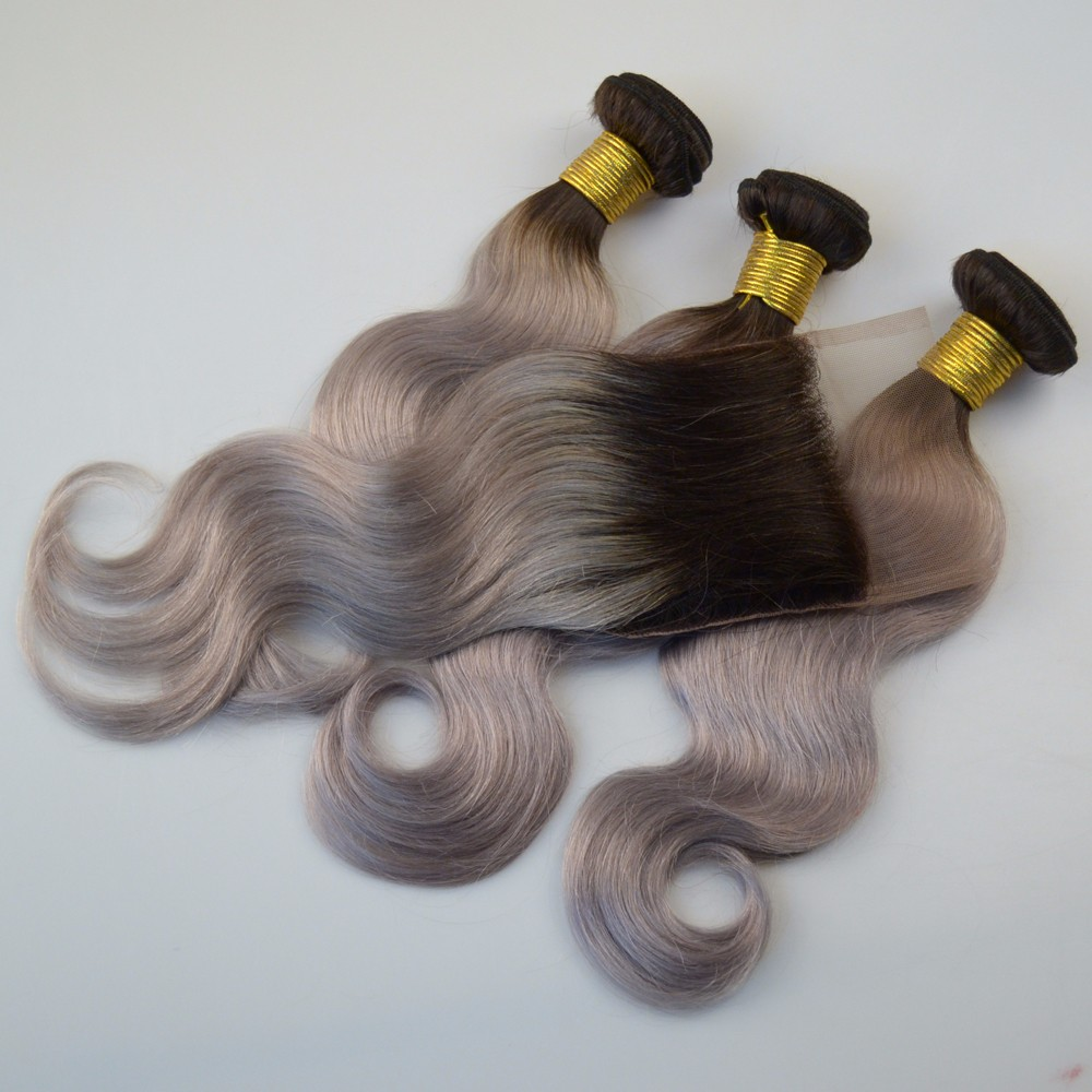 Silver Grey Ombre Human Hair With Closure Brazilian Hair Weave Bundles With Closure 1B Grey Human Hair Extensions With Closure