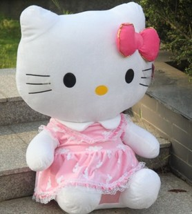 the stuffed lovely hello kitty toys plush big cat doll perfect gift pink cloud coat kitty about 45cm(China (Mainland))