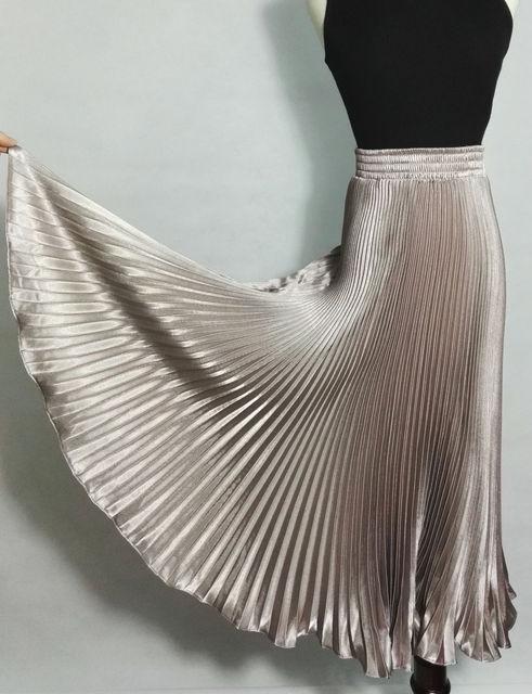 Металл глянец плиссе шампанское яркий шелк миди 2016 атласная дамы макси длинные тюль юбки шифон женщин лето