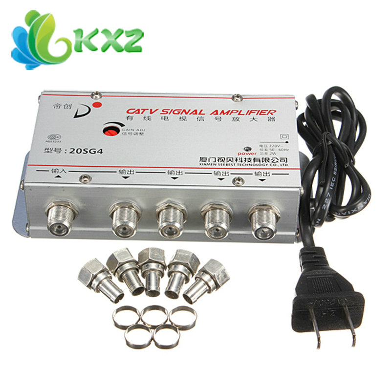 4 Way CATV Cable TV Signal Amplifier AMP Video Booster Splitter AC 220V 50Hz(China (Mainland))