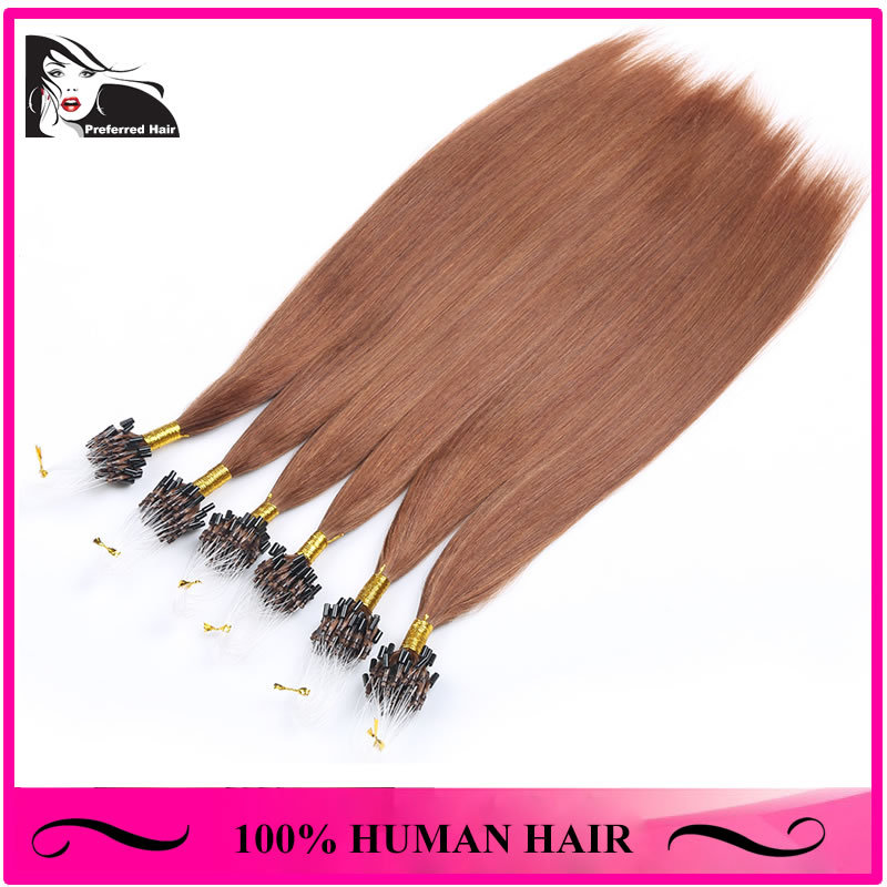 2015 New Arrival 20'' Natural Color Silky Straight Texture 100 Peruvian Virgin Hair Micro Loop Hair Extensions(China (Mainland))