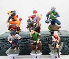 Anime 6pcs/set Naruto ninja Sasuke Gaara Shikamaru Kakashi Sakura PVC Action Figure Toys Collection