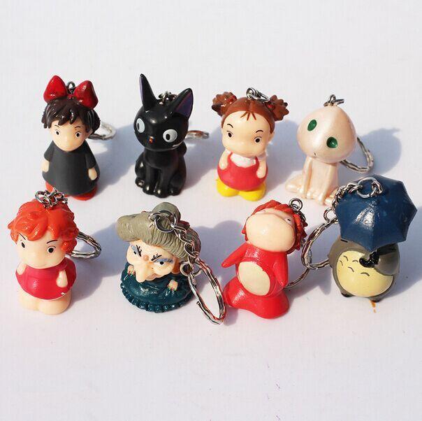 DHL 30sets Anime Hayao Miyazaki My Neighbor Totoro KiKis Delivery Service Ponyo PVC Figure Toys Keychain Pendant <br>