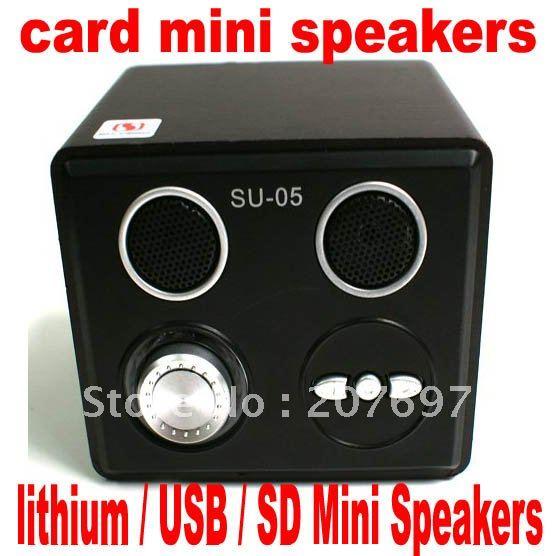 2pcs/LOT SU-05 card mini lithium Speaker / U disk / SD cmobile phone MP3 speaker, computer sound(China (Mainland))
