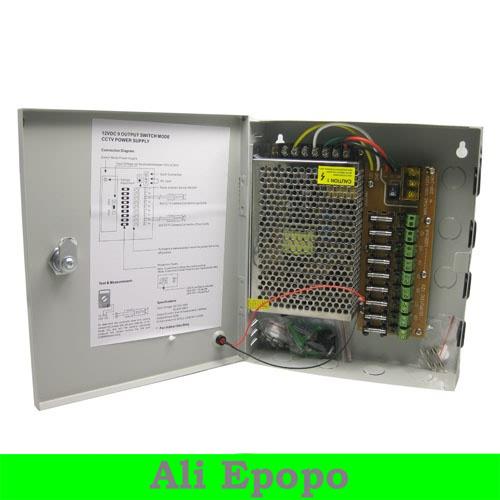 9CH Total Outputs DC 12V 5A CCTV Power Supply CCTV Box For CCTV Security Camera, FREE SHIPING(China (Mainland))