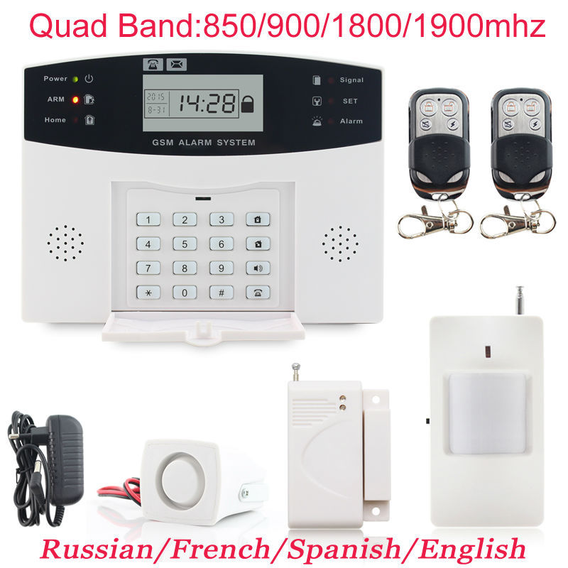 Гаджет  Russian/French/Spanish Voice Prompt GSM SIM Home Burglar Security Alarm System Remote Control Kit Infrared Detector Door Sensor None Безопасность и защита
