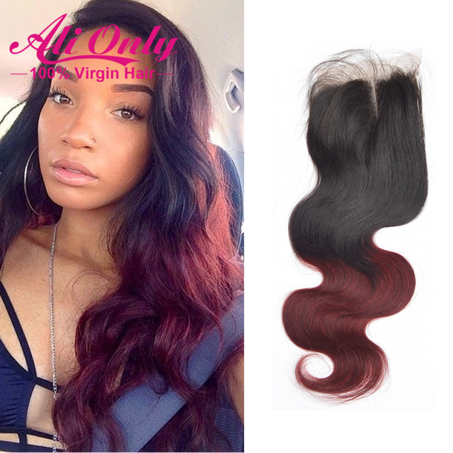 Brazilian Body Wave Closure 4x4 Lace Closure Baby Hair 1b/Burgundy Brazilian Virgin Hair Closure Wet And Wavy Body Wave Closure(China (Mainland))