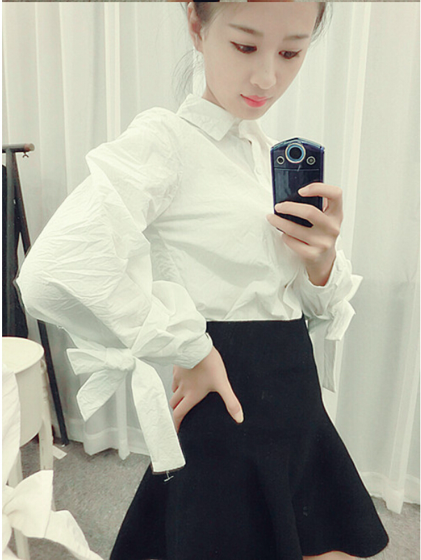 woman shirt white solid women shirts blouses long sleeve Korean female 2015 spring summer - Lucky Dog's House store