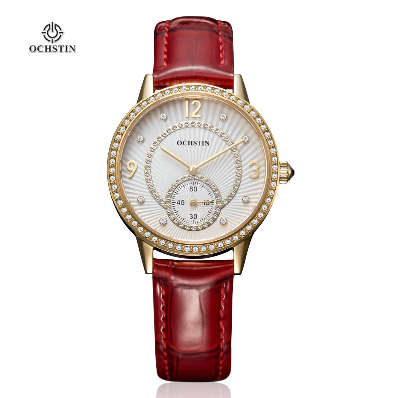 Ladies Wrist watch OCHSTIN Luxury Genuine Leather Strap Small Second Dial Waterproof Quartz Watches Woman 013B Brand Watch Women(China (Mainland))