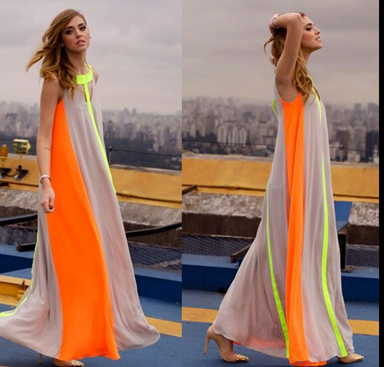 Bohemia Style Trendy Women Patchwork Long Dress Summer Style 2015 Plus Size High Street Casual
