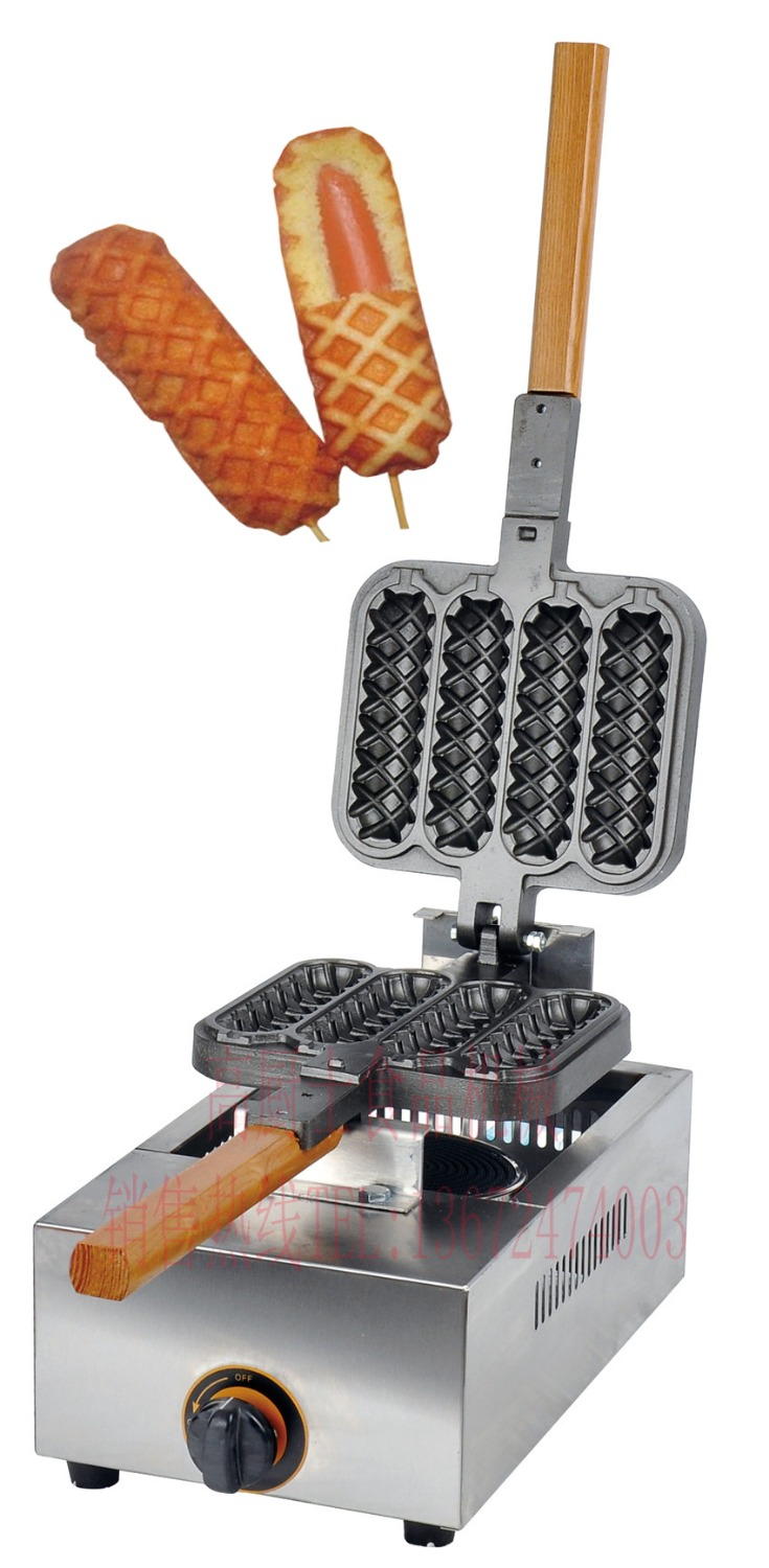 Free shipping Gas type 4 pcs hot dog lolly waffle machine hot dog grill come with recipe(China (Mainland))