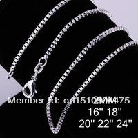 Lose money promotion 5pcs/lot Free shipping wholesale women/men 925 sterling silver fashion jewelry 2mm box Chain Necklace C009(China (Mainland))
