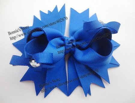 """10pcs/lot 4.5"""" Electric Blue Boutique Bows With Crystal Gem Large(China (Mainland))"""